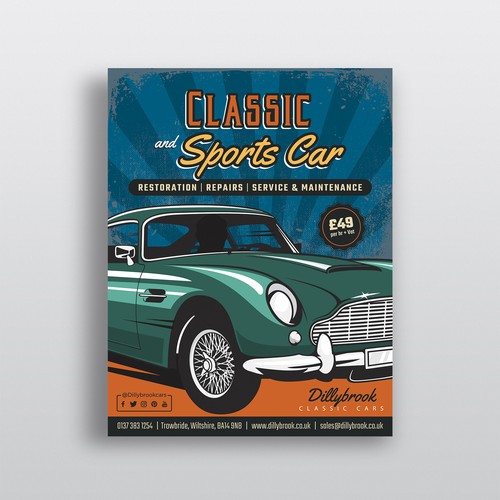 Classic Car Auto Repair Flyer