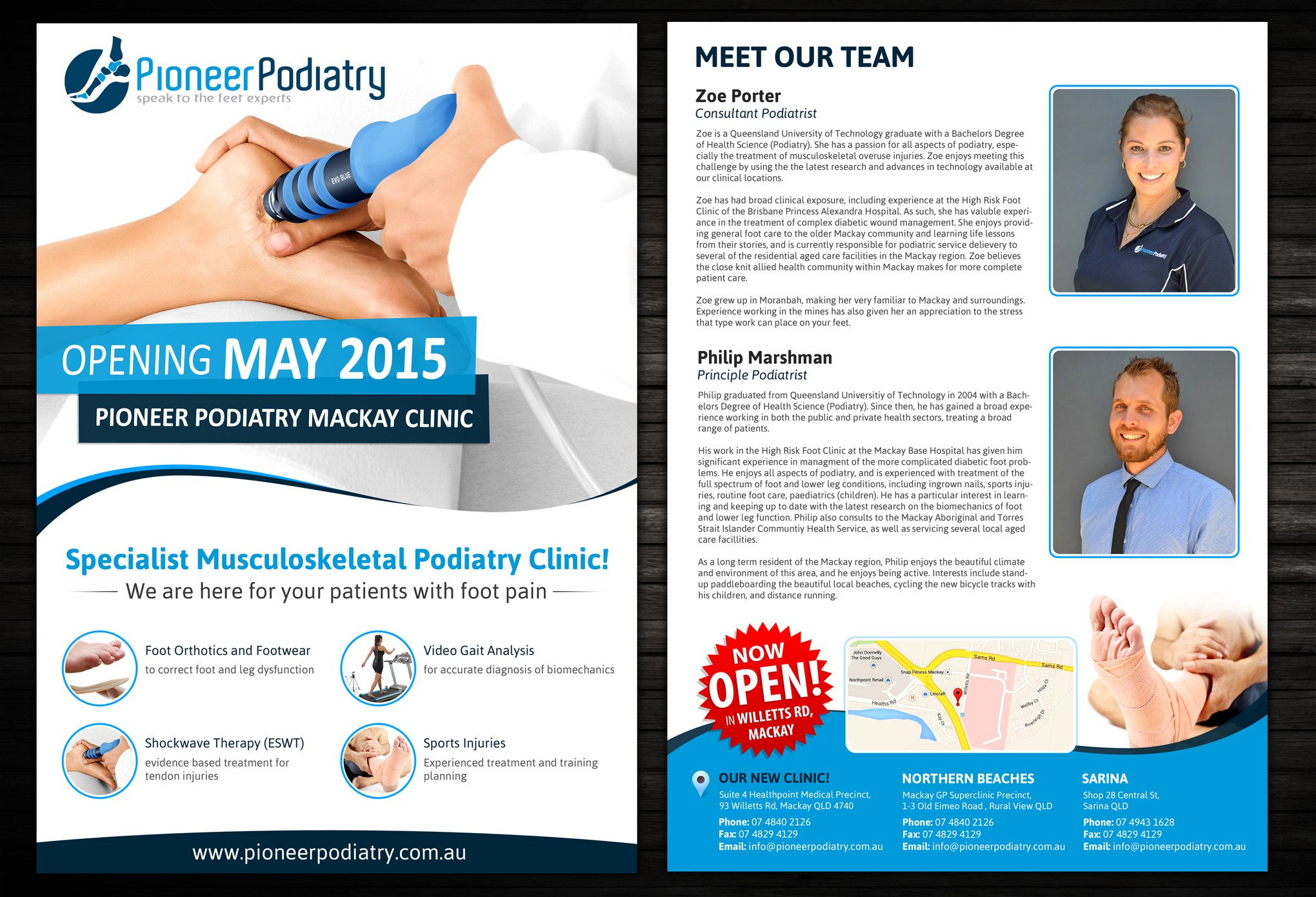 Create a killer A4 flyer for a new Podiatry (Foot Doctor) Clinic!