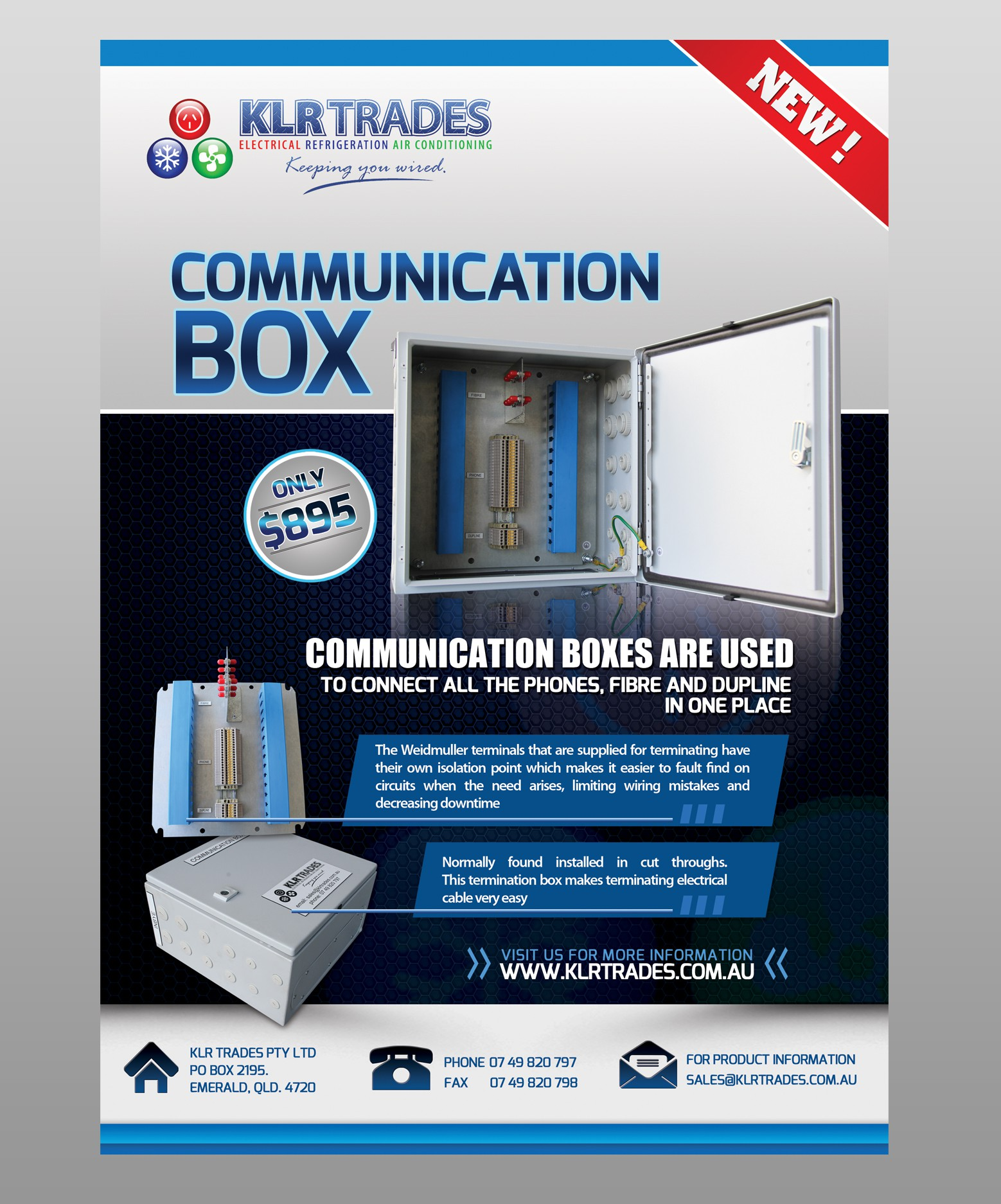 Create the next postcard or flyer for KLR Trades Electrical & Refrigeration