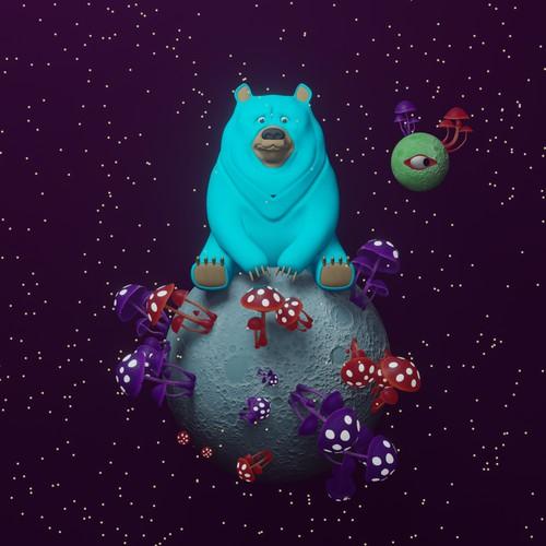3D illustration of Moon, Bear and Mushrooms.