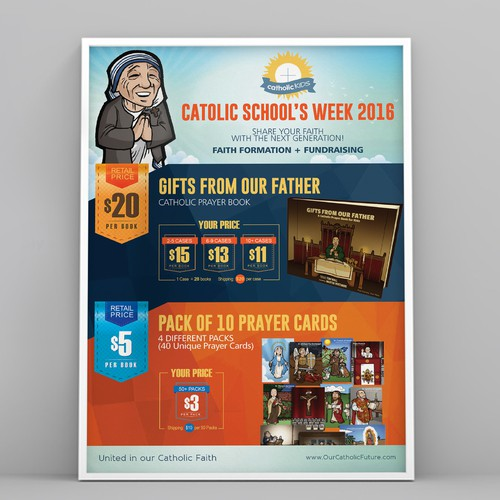 promo sheet for an upcoming Catholic Kids book fundraiser campaign