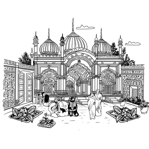Indian Palace Building Arquitectural Illustration