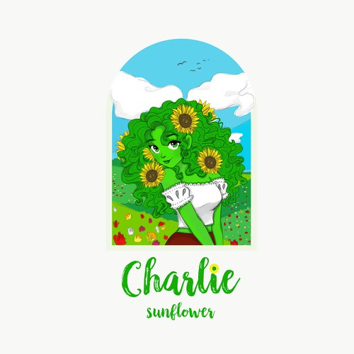 Charlie Sunflower illustration Logo