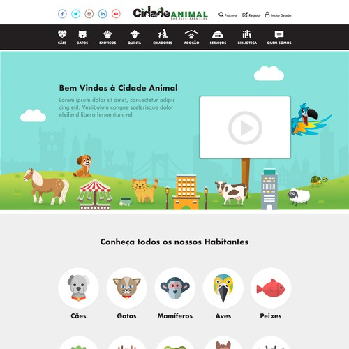Colorfull website design for an Animal Town