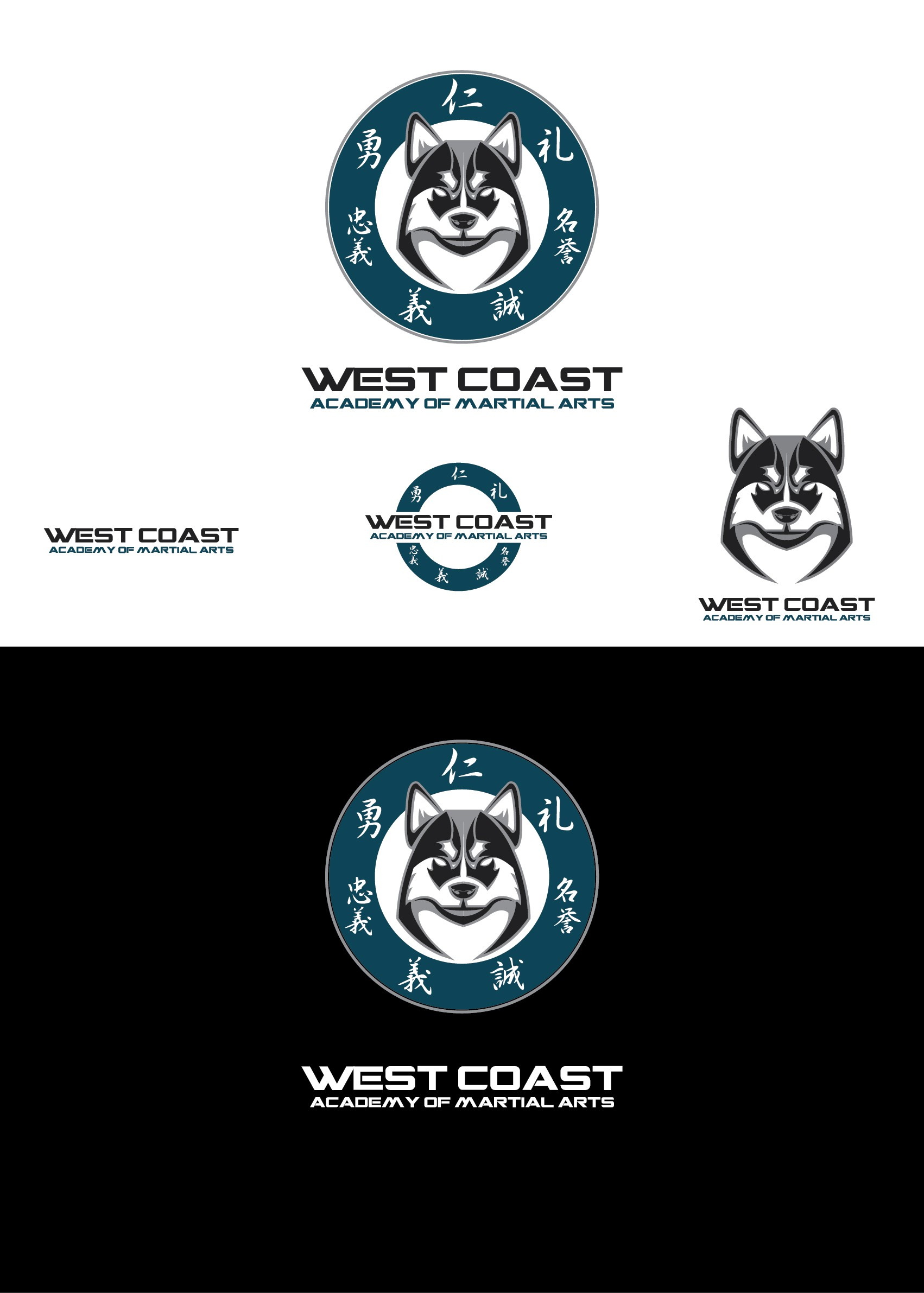 Create a professional/sporty identity for West Coast Academy Of Martial Arts