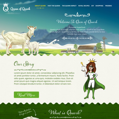 Website for new superfood based on Quark for the US.