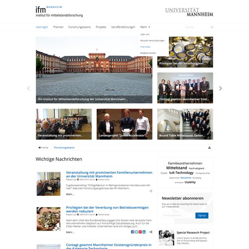 Research Institute in Germany looking for a new website