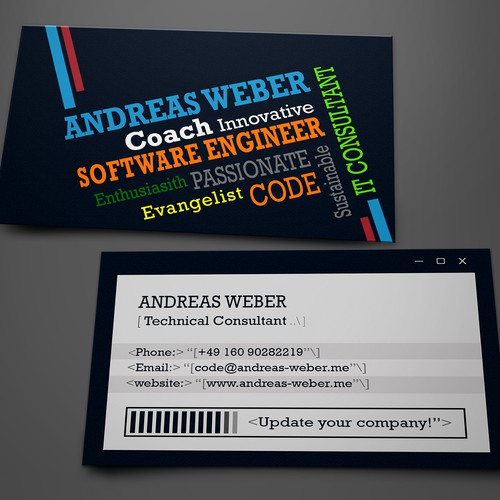 Cool business card for a young freelancer working as technical consultant