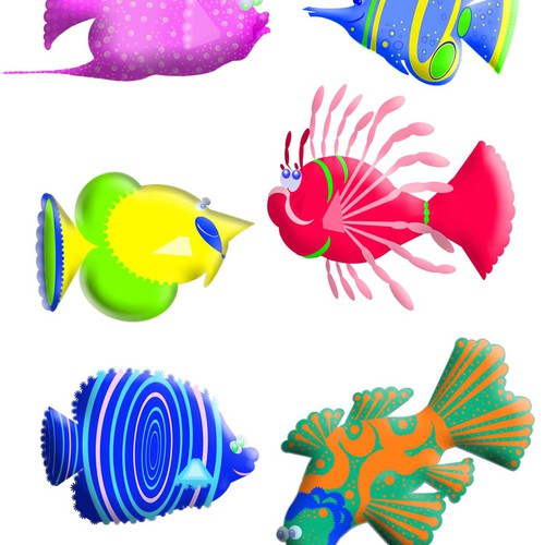 Six Colorful and detailed Ocean Fish Illustrations