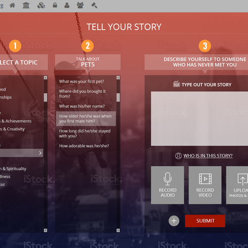 Webpage design for 'Tell Your Story'