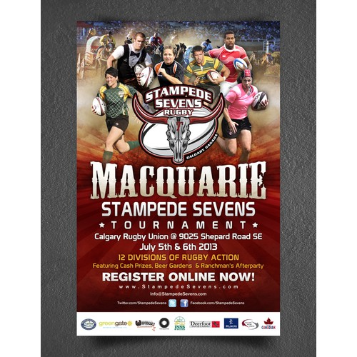 Help Macquarie Stampede Sevens Rugby Tournament with a new postcard or flyer