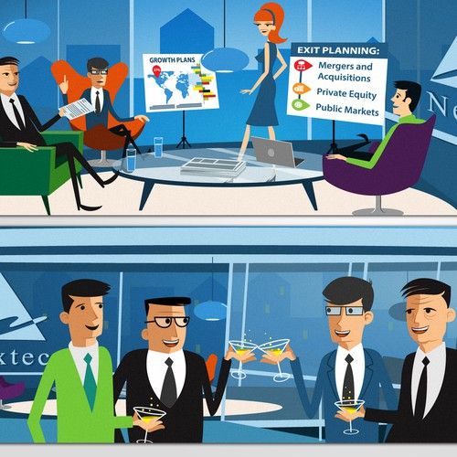 Quirky, cheeky, stylized 60s retro cool character illustrations for Nextec's new website:Help us Bankers look cool too:)