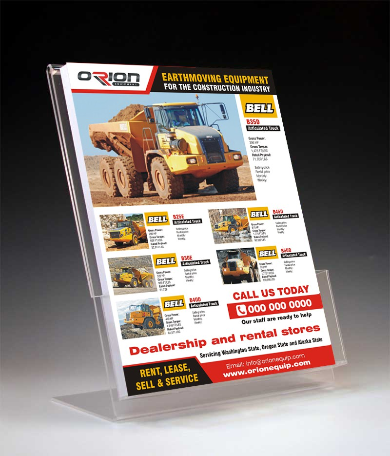 Create a winning flyer/line card for my rental equipment