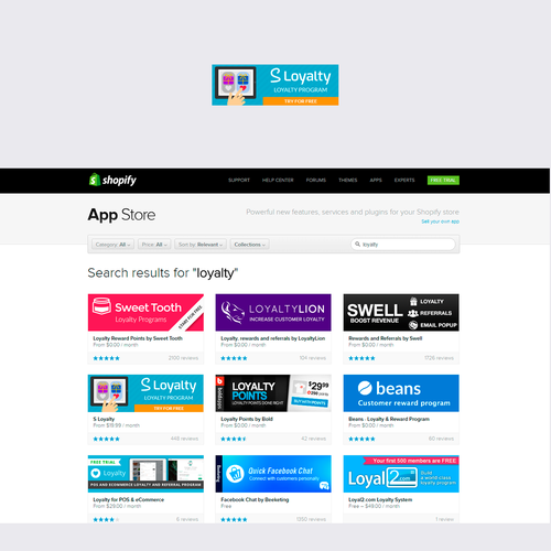 Shopify app store banner