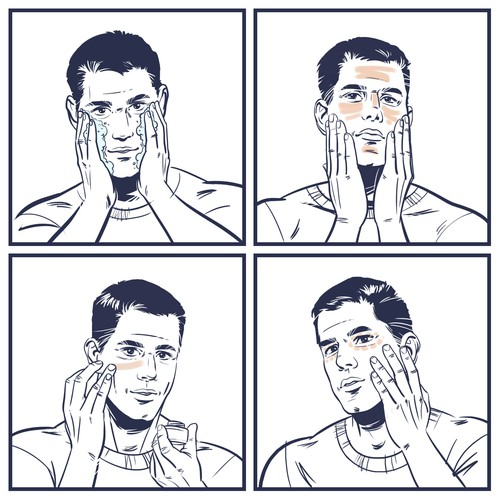 "4 illustrations of a man applying 4 different products ""Tread"" to his face."