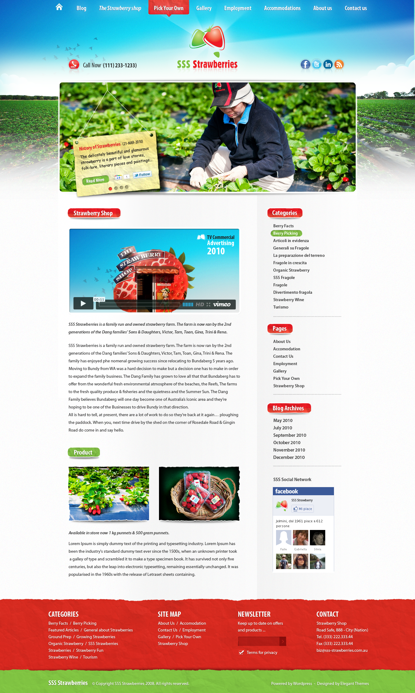 Create the next website design for SSS Strawberries