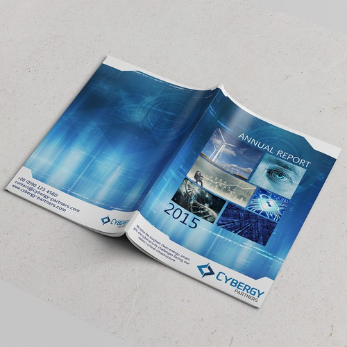 Create a compelling photo montage and graphical design for Cybergy Holdings' first Annual Report.
