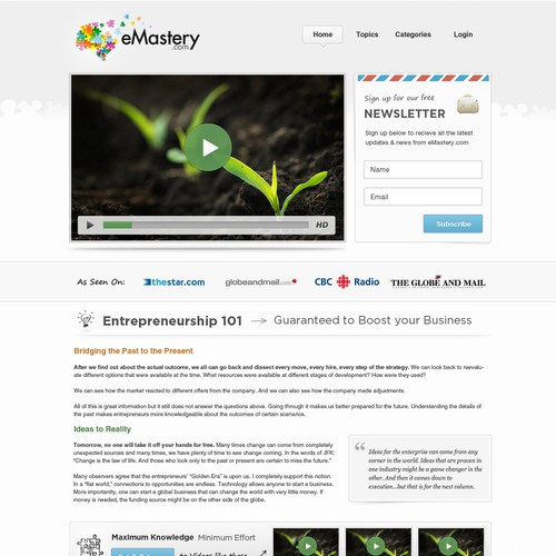 "Create the next website design for eMastery.com ""Maximum Knowledge, Minimum Effort"""