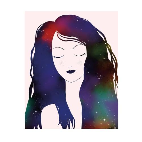 hair sky illustration
