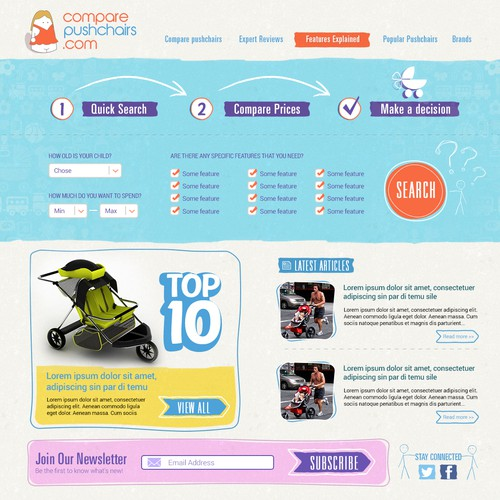 Ecommerce website for strollers