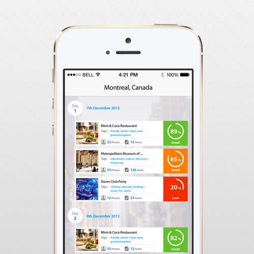 Travel Narrative / Experience Product Design for ios7 mobile app