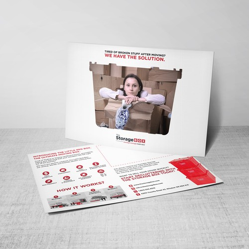 Create a fun, eye-catching post card for The Storage Box!
