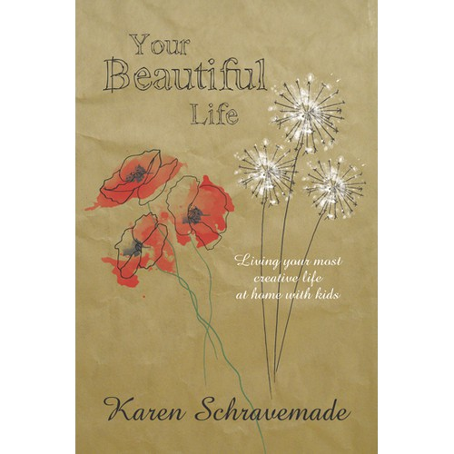 Create an artistic e-book cover with hand-drawn elements and a floral theme