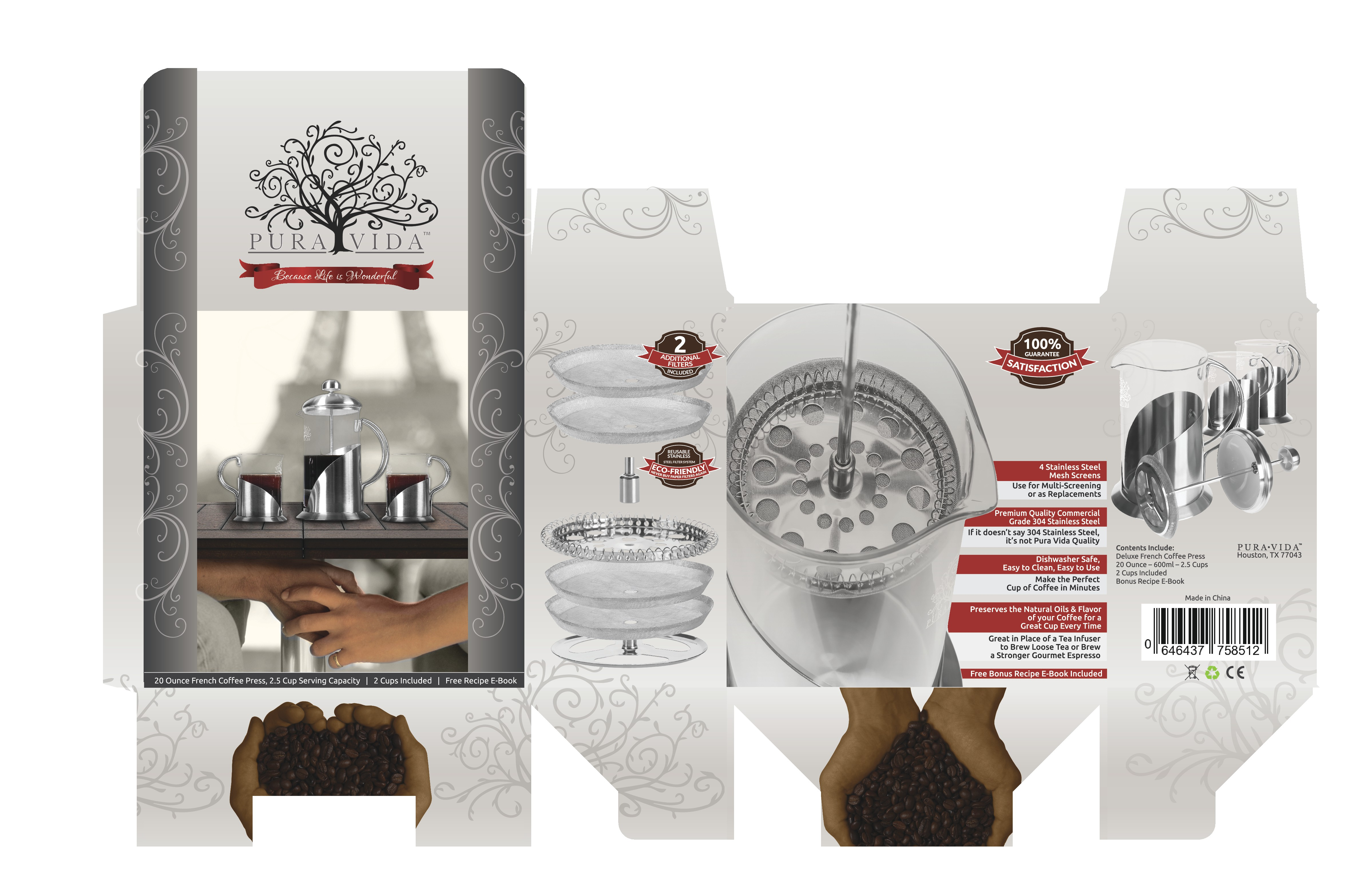 French Coffee Press with Cups Box Design