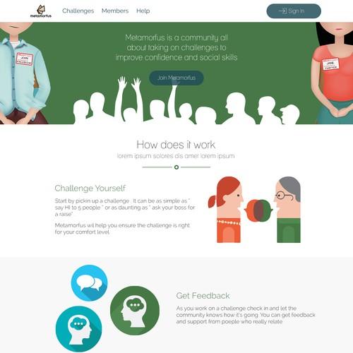 Landing page for social skills community website