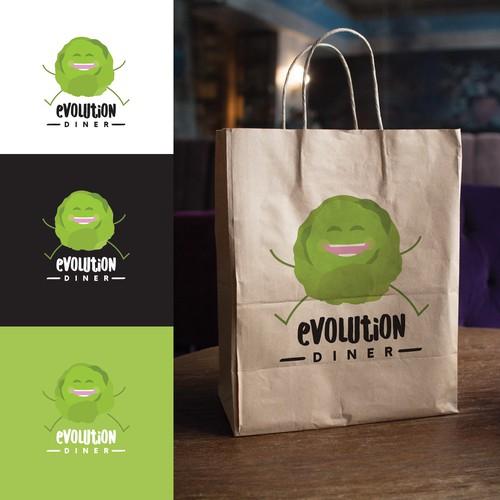 Playful logo concept for modern vegan diner