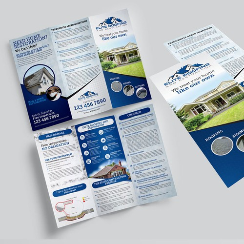 Eye-Catching & Informative Brochure for a roofing company specializing in hail damage