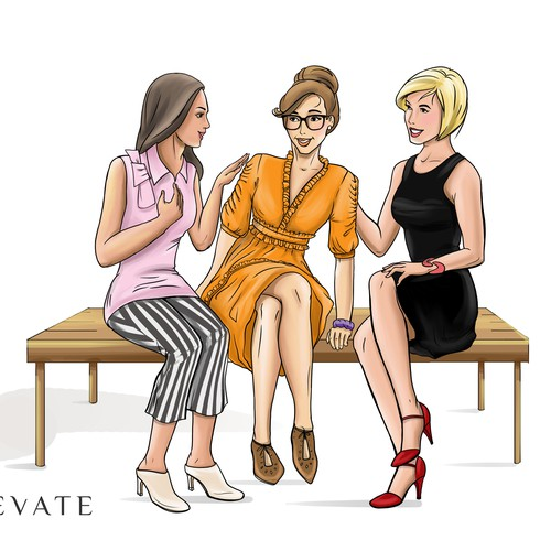 Fashion illustration GIRLS SITING AND TALKING