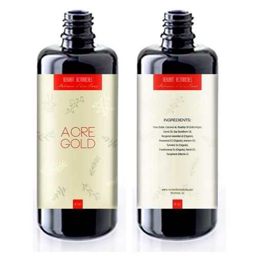 Label design for organic skin care oil