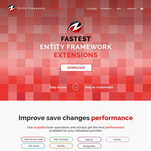Landing page for Entity framework