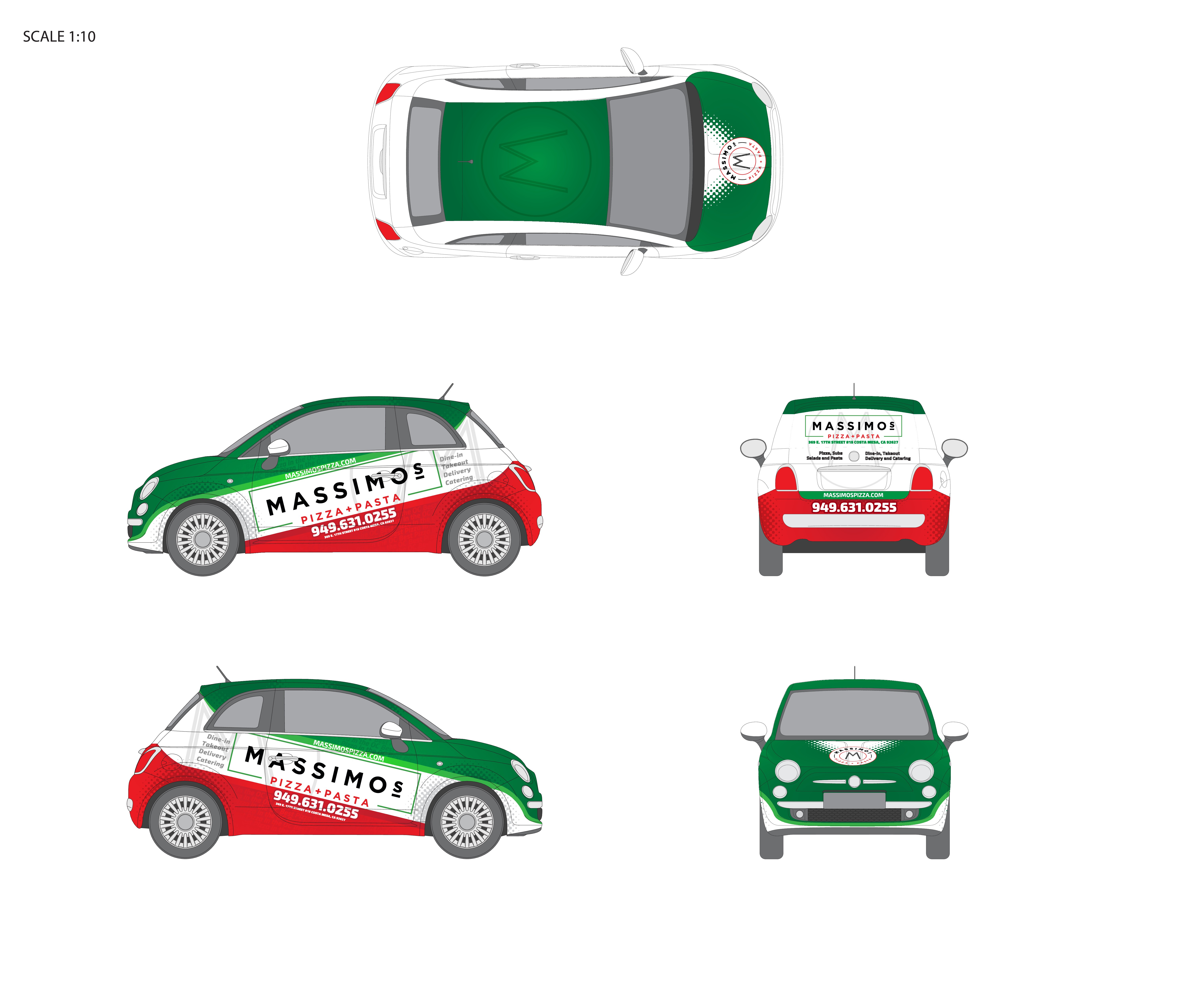 Create a cool wrap design for our new pizza delivery car.