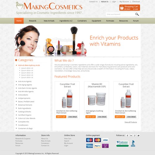 Website Design for E-commerce Business - Cosmetic Manufacturer