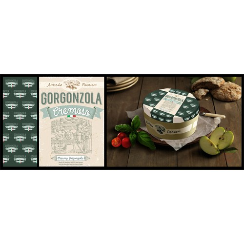 Design a product label set for an Italian Cheese