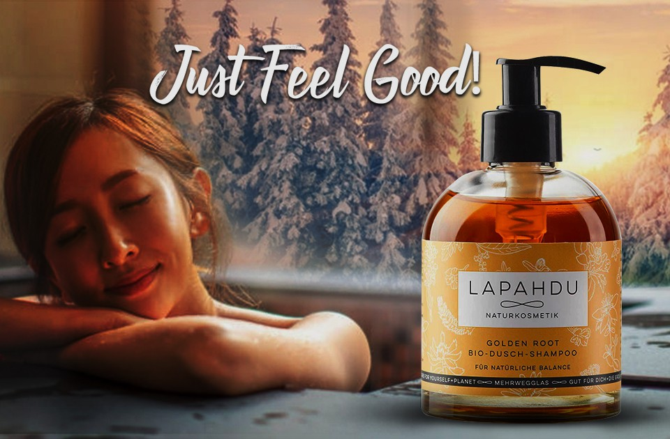 Luxurious organic Hair+Shower for relaxing winter moments - in refillable glassbottles
