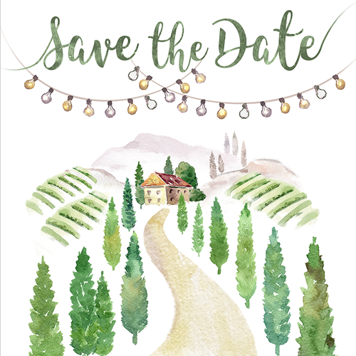 Traditional watercolor illustration for wedding