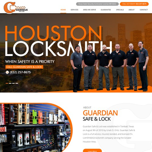 Website design for Guardian safe & Lock