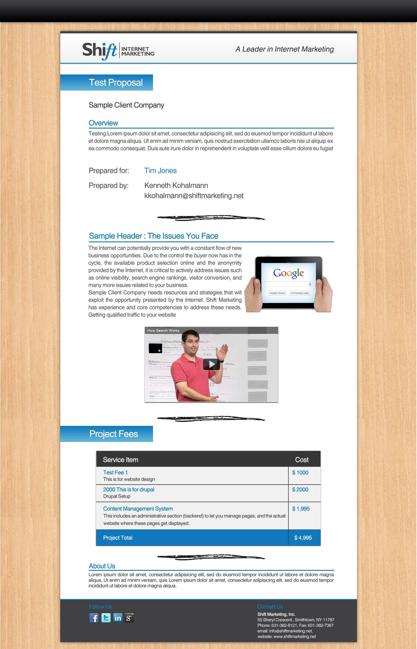 Proposal Design for Shift Marketing Inc.