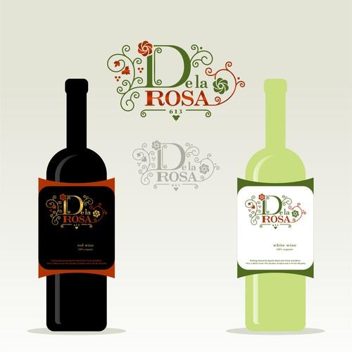 Logo & lable design for De La Rosa Wine