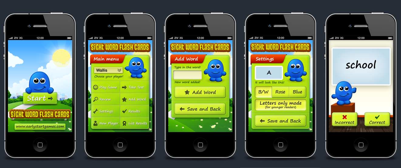 Create an iPhone/iPad design for an educational reading game