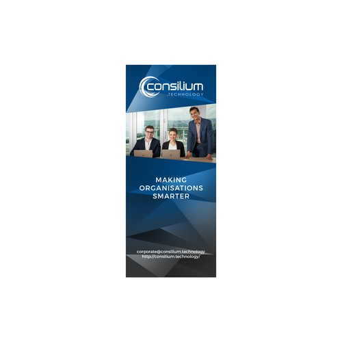 Create a bold banner for technology and defence industry events