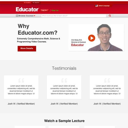 Educator.com homepage redesign