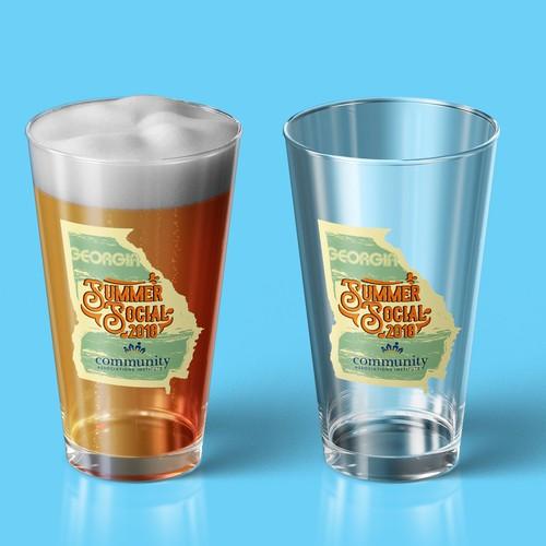 社交活动的啤酒品脱玻璃设计