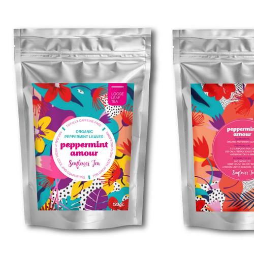 Feminine label for a tea brand