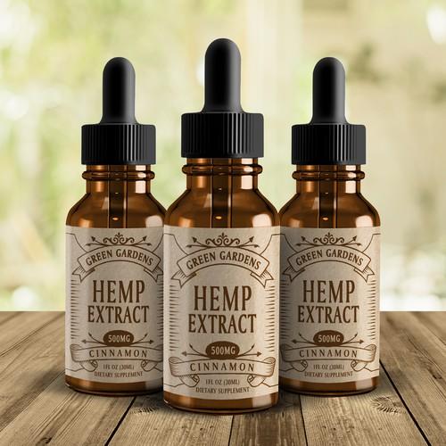 Design hipster label for hemp oil tincture