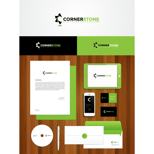 Simple, Modern, Innovative logo for CornerStone Staffing Solutions. Guaranteed and Blind.