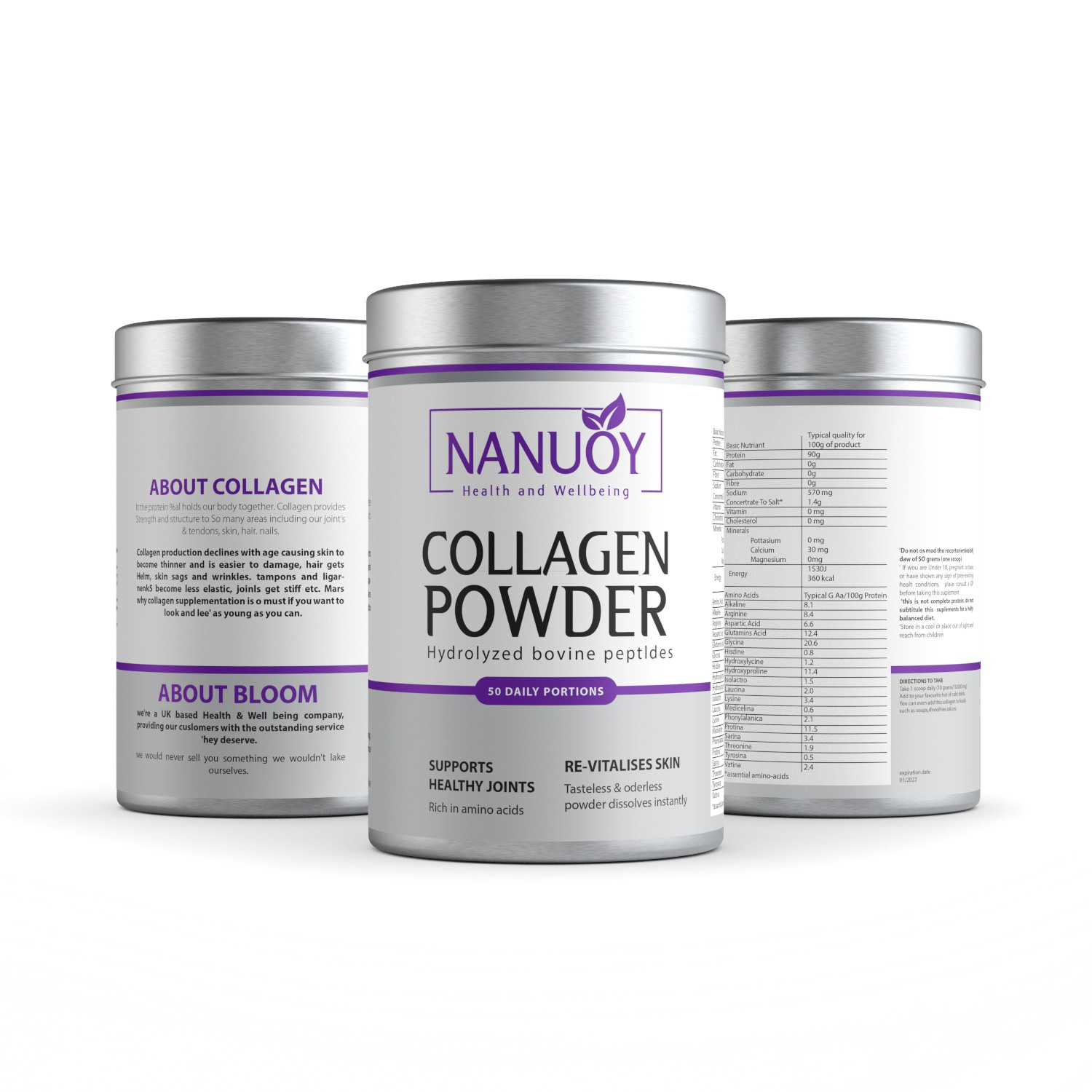 Health & Beauty Supplement label- All written info is done for you.